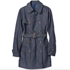Gap denim navy trench coat, size M